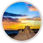 Sand Castle 1 Round Beach Towel