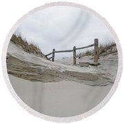 Sand Dune And Fence Round Beach Towel