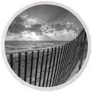 Sand Dunes In Black And White Round Beach Towel