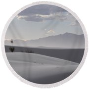 Sand Dunes Light And Shadow Round Beach Towel