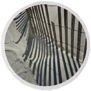 Sand Fence During Winter On The Beach Round Beach Towel