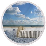 Sand Fence Round Beach Towel