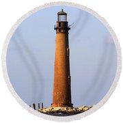 Sand Island Lighthouse - Alabama Round Beach Towel