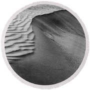 Sand Pattern Abstract - 2 - Black And White Round Beach Towel