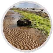 Sand Patterns On Robin Hoods Bay Beach Round Beach Towel