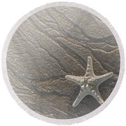 Sand Prints And Starfish II Round Beach Towel