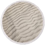 Sand Ripples Natural Abstract Round Beach Towel