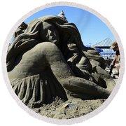 Sand Sculpture 1 Round Beach Towel by Bob Christopher
