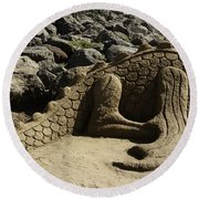 Sand Sculpture Dragon With Flaming Nostrils Round Beach Towel