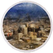 Sand Storm Approaching Phoenix Photo Art Round Beach Towel