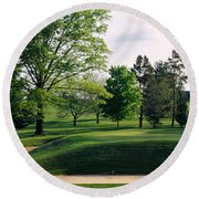 Sand Traps On A Golf Course, Baltimore Round Beach Towel