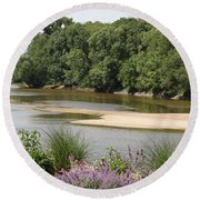 Sandbanks In The River Round Beach Towel