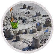 Sandcastle Squatters Round Beach Towel by Betsy Knapp