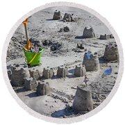 Sandcastle Squatters Round Beach Towel