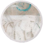 Sandcastles- Abstract Painting Round Beach Towel by Linda Woods