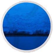 Sandhill Crane Blue Hour Round Beach Towel