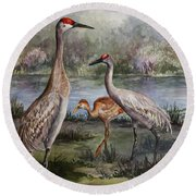 Sandhill Cranes On Alert Round Beach Towel