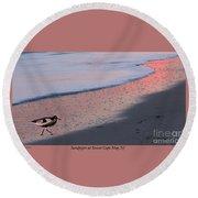 Sandpiper At Sunset Print Round Beach Towel