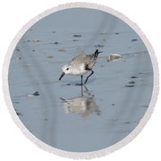 Sandpiper Reflection Round Beach Towel
