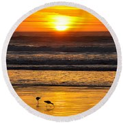 Sandpipers At Sunset Round Beach Towel