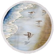 Sandpipers On The Beach Round Beach Towel