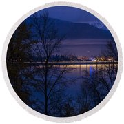 131112a-110 Sandpoint After Dusk Round Beach Towel