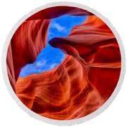 Sandstone Curves In Antelope Canyon Round Beach Towel