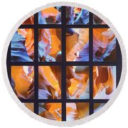 Sandstone Sunsongs Blues Photo Assemblage Round Beach Towel