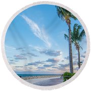 Sandy Beach And Beautiful Clouds  Round Beach Towel