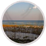Sandy Beach And Three Tiny Clouds Round Beach Towel