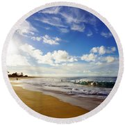 Sandy Beach Morning Rainbow Round Beach Towel