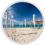Sandy Beach Umbrellas Round Beach Towel