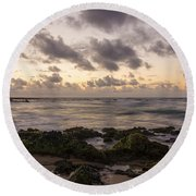 Sandy Beach Sunrise 10 - Oahu Hawaii Round Beach Towel