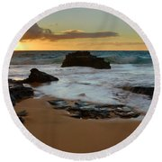 Sandy Beach Sunrise 7 - Oahu Hawaii Round Beach Towel
