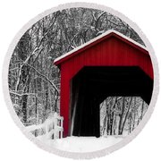 Sandy Creek Cover Bridge With A Touch Of Red Round Beach Towel