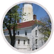 Sandy Hook Lighthouse Iv Round Beach Towel
