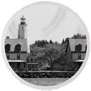 Sandy Hook New Jersey Lighthouse Round Beach Towel