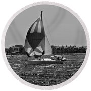 Sandy Hook Sailing II Round Beach Towel