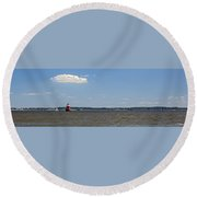Sandy Pt Shoal Lighthouse - Pano Round Beach Towel