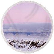 Sangre De Cristo Range With Clouds Round Beach Towel