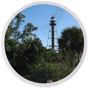 Sanibel Island Lighthouse Round Beach Towel