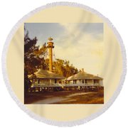 Sanibel Lighthouse Landscape Round Beach Towel