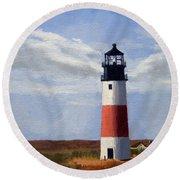 Sankaty Head Lighthouse Nantucket Massachusetts Round Beach Towel