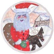 Santa And His Reindeer Round Beach Towel
