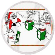Santa And Reindeer Conference Round Beach Towel