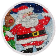 Santa And Rudolph Round Beach Towel