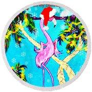 Santa Baby Flamingo Round Beach Towel