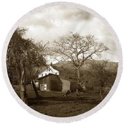 Santa Barbara Mission California Circa 1890 Round Beach Towel