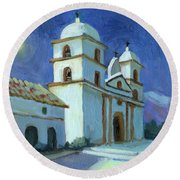 Santa Barbara Mission Moonlight Round Beach Towel