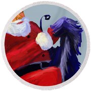 Santa Blue Round Beach Towel